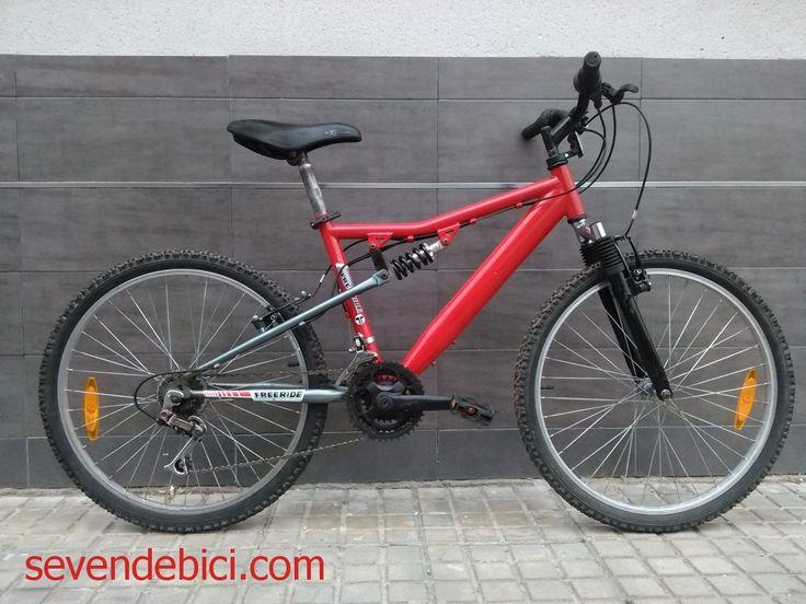 Vendo bicicleta de montaña marca Freeride juvenil (valida de 1,35 a 1,50m de estatura). Viene con triple amortiguador (dos delanteros y uno trasero), ruedas de 24 pulgadas y cambio sincronizado de 18 marchas (3 platos y 6 piñones). Revisada, ajustada y engrasada esta lista para rodar.