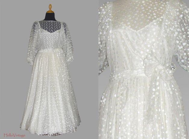 60er Pünktchen Vintage Brautkleid Gr. 36-38