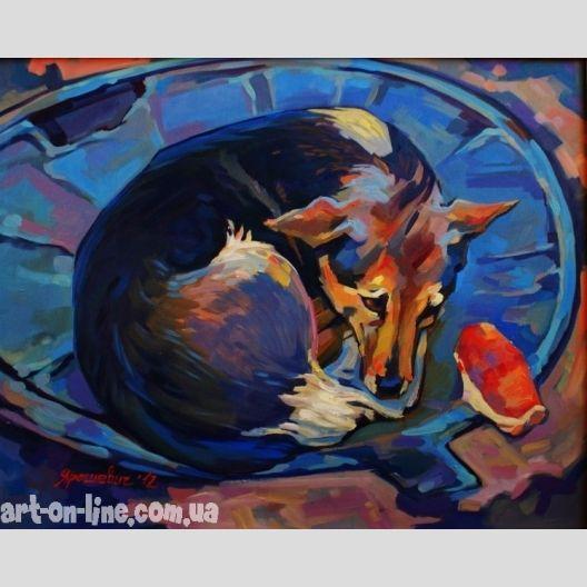 Картина Собака и булочка -  Дворняга, лежащая на канализационном люке, смотрящая на булочку рядом на картине маслом на холсте.