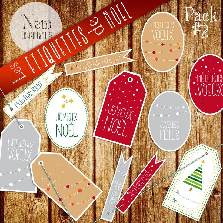 Voici le second pack de printables de Noël, à télécharger, à imprimer et à coller ou attacher à vos cadeaux ! Préparez bien vos fêtes ! La suite dans quelques jours ! (tu peux aussi cliquer sur l'image pour télécharger le fichier :) Pour rappel lepack #1 est ici.                                                                                                                                                                                 Plus