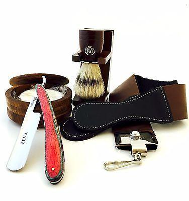Straight Razors: Pakkawood Cut Throat 6 Pc Men S Straight Razor Shaving Kit Luxury Gift Set Red -> BUY IT NOW ONLY: $79.99 on eBay!