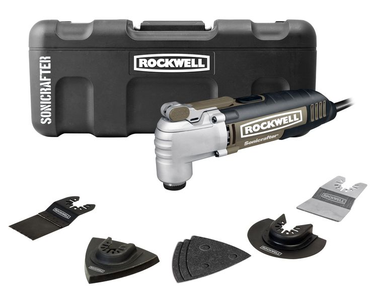 Rockwell RK5139K Sonicrafter Hyperlock with Universal Fit Oscillating Tool Kit. Powerful 2.5-Amp motor with variable speed control. Hyperlock tool-free blade changes with up to 1-ton of clamping force to prevent blade slippage. Universal fit system adapts to fit most other brands accessories. Use to cut, saw, scrape, sand, shape, polish, and remove grout. Tool weight is 3.6-Pound.
