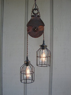 I have the old pulley.bought years ago in rogers city.cage lamps are at homedepot.need two.but where to put???