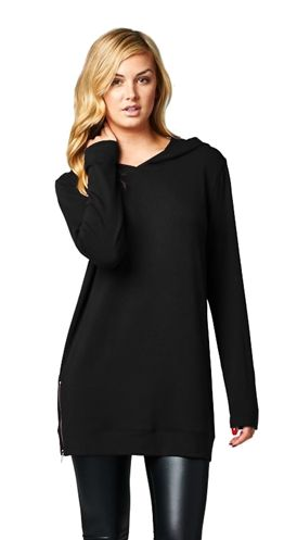 Avalon Hooded Tunic $49.95 CAD ESTIMATED SHIP DATE: This item is NOT in stock. Estimated ship date is Friday, October 17, 2014. Loose fitting tunic hood Zippers on side Long Sleeve Extremely Soft and lightweight material 95% Modal, 5% Spandex Made in the USA