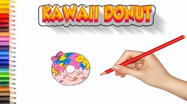 Learn To Draw A Kawaii Donut Step By Step Donut Smile Cute Cartoon Love Funny Lol Meme Memes Easy Drawings For Kids Drawing For Kids Easy Drawings