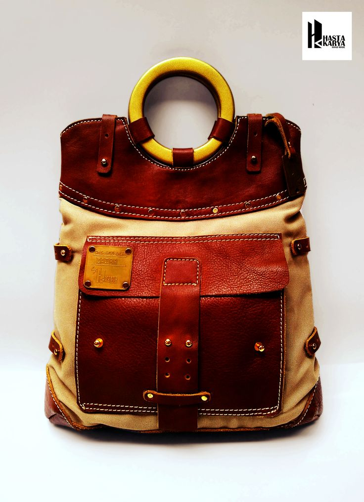 LEATHER CANVAS HAND MADE BAGS  DESIGNED BY HASTAKARYA