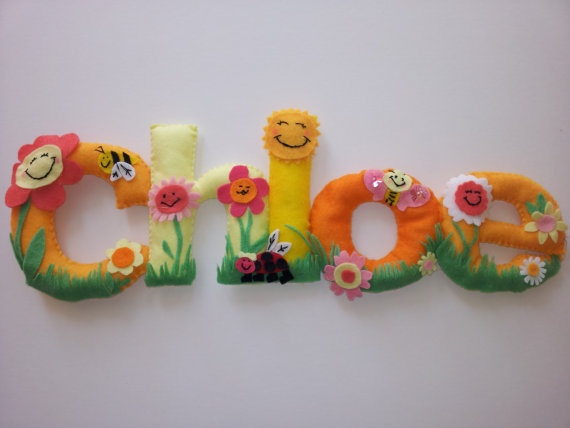 LOVE this Personalised children's felt banner. Etsy Baby Room  by DaisyChainCreates, £5.00
