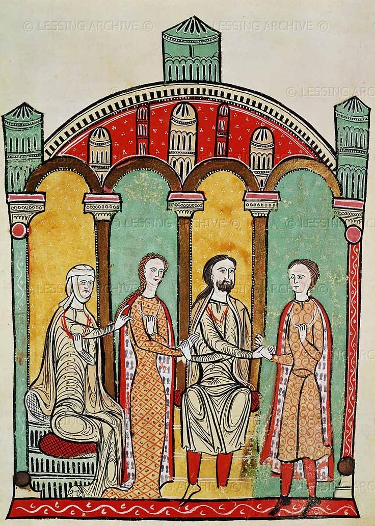 Romanesque codex of the 12th century: Liber Feodorum: scenes of a royal wedding.