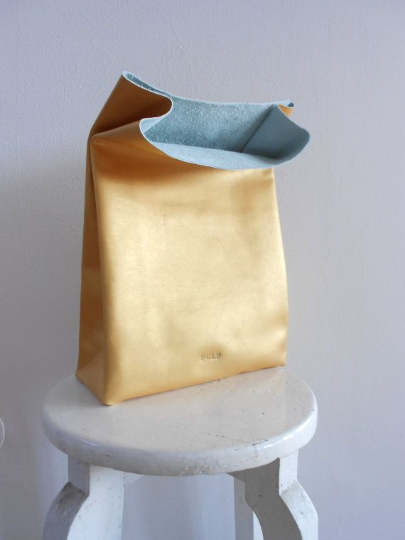 Some day when I'm rich. Golden leather paper bag by pulpalm on Etsy, €61.00
