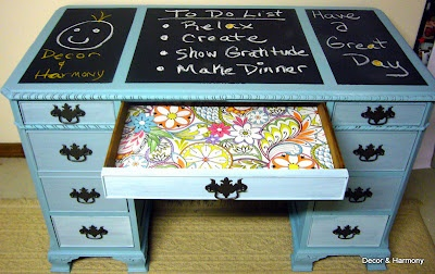 chalkboard desk top  ??  maybe...  Beachy Blue Desk Makeover