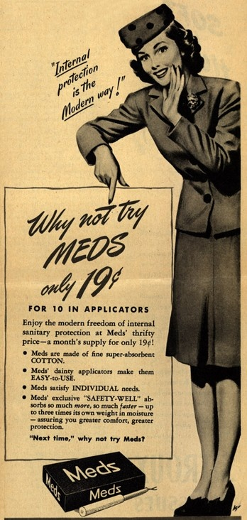 You can tell this was before the discovery of toxic shock syndrome, with 10 being a month's supply.