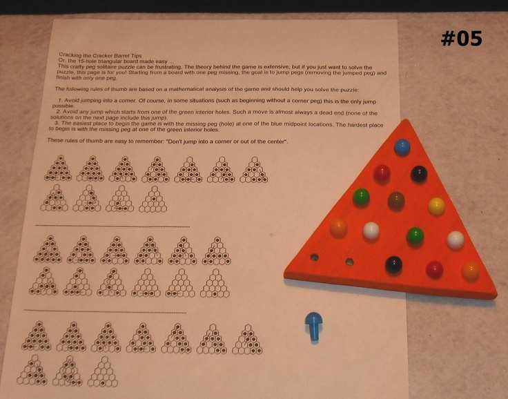 Wood Wooden Puzzle Game 15 Hole Triangle Board 14 Pegs