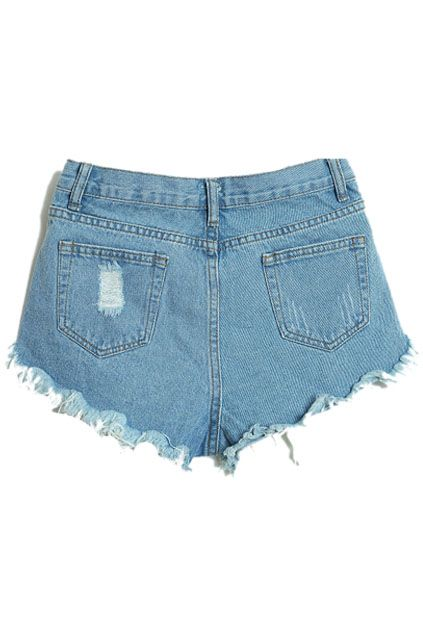 Distressed Buttoned Light-blue Shorts