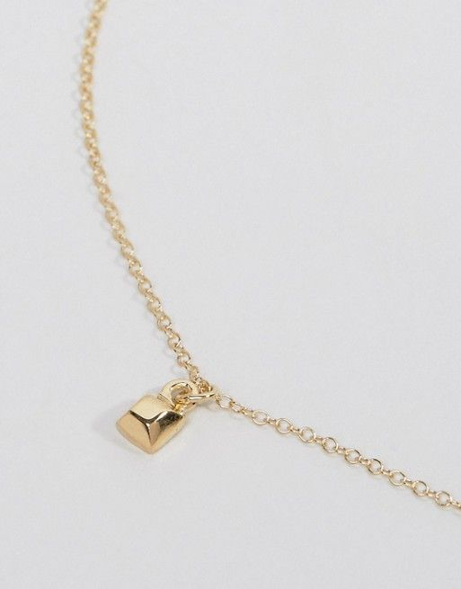 Asos Gold Plated Sterling Silver Square Choker Necklace