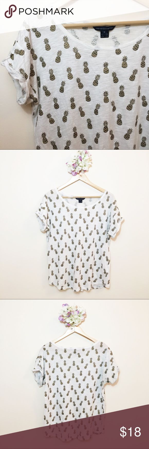 """French Connection Pineapple Short Sleeve Cuff Top EUC French Connection gold pineapple patterned short sleeve cuffed top in size small. Could fit a medium and a large.   100% cotton  Chest: 41"""" Length: 24"""" French Connection Tops Tees - Short Sleeve"""