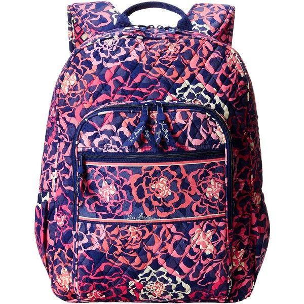 Vera Bradley Campus Backpack (Katalina Pink) Backpack Bags ($71) ❤ liked on Polyvore featuring bags, backpacks, pink, cotton backpacks, multi color backpack, vera bradley backpack, pink backpack and blue bag