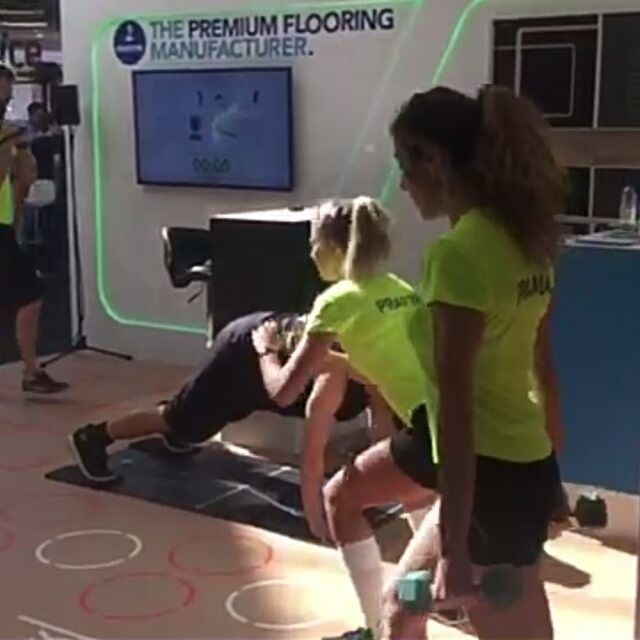 Take a look! Stunning #pavigyn stand 130 at #elevate2016 we'll have demo session each hour at Olympia convention center #london #health #fitness #inactivity #pavigym #gym #sports #flooring #prama #interactive #platform #software #gymnastics #basketball #s