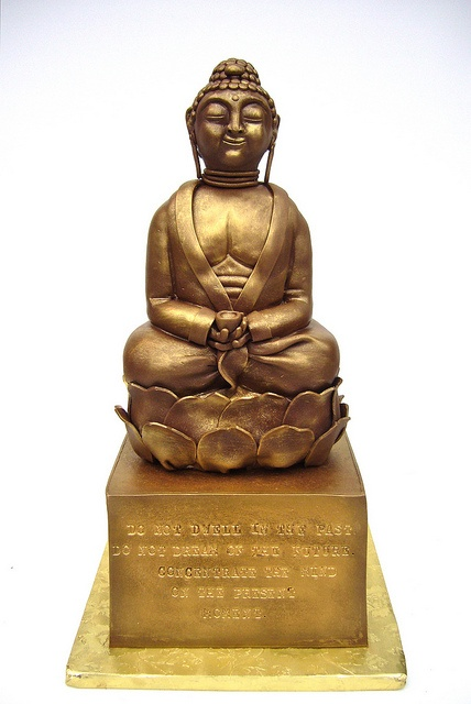 "Buddha cake ~ by amber.mckenney -- The quote says ""Do not dwell in the past. Do not dream of the future. Concentrate the mind on the present moment."""