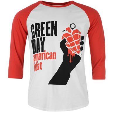 Official Band Merch | Official Band Merch Green Day Raglan T Shirt Mens | Mens T Shirts