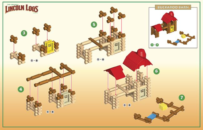 This image is considered an organizational visual.  The step by step images helps the learner to build a Lincoln Log house in a simple sequence.  I really like how this visual makes each piece that is being built in that step a bright color that corresponds with the actual pieces.  Each previous step is all one color so the learner knows what pieces go where during each new step.  I feel like these instructions are not overly detailed, but are interpreted quickly since each step is numbered.