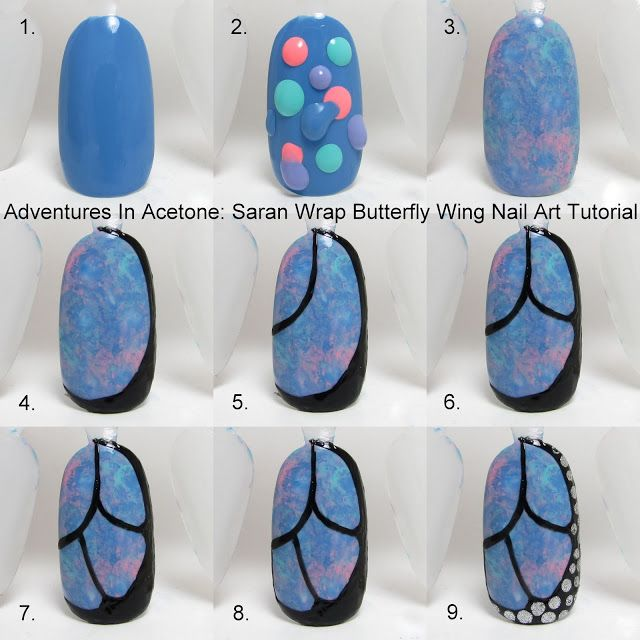 Tutorial Tuesday: Butterfly Wing Saran Wrap Nail Art! - Adventures In Acetone