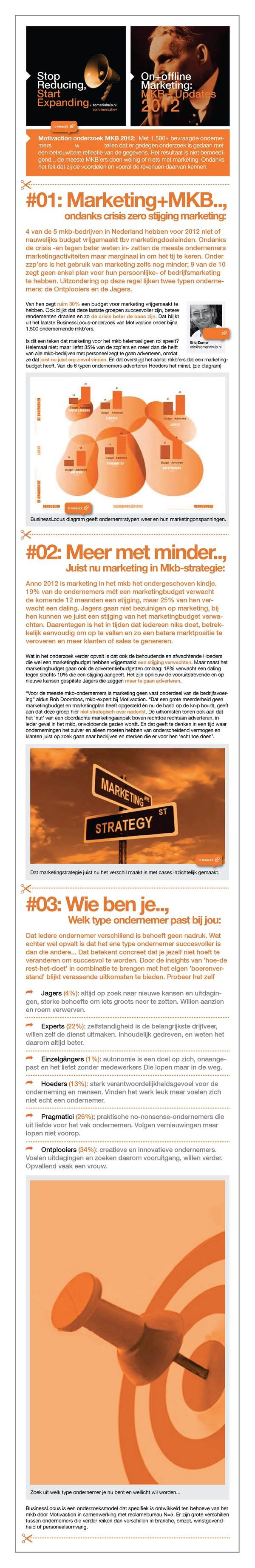 Mkb Marketing Update 2012: 3 New Learnings by Eric Zomer, via Behance: Altijd al willen weten wat voor type ondernemr je bent? Check out de MKB Update