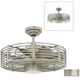 """Kendal Lighting 23"""" Enclave Satin Nickel Ceiling Fan w/ Light Kit & Remote - maybe a little industrial, but it could have its place."""