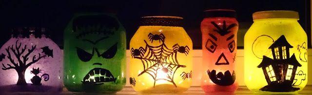DIY Fabrica de bucurii: Decorațiuni de Halloween: sticlă pictată