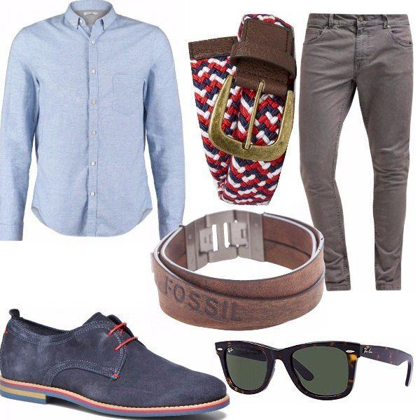 Pantalone slim in cotone, facilmente risvoltabile per mostrare la stringata blu con lacci rossi, a mio avviso bellissima. Una camicia blue, da indossare sia fuori che dentro, l'occhiale giusto (guardare che prezzo!) ed il gioco è fatto.