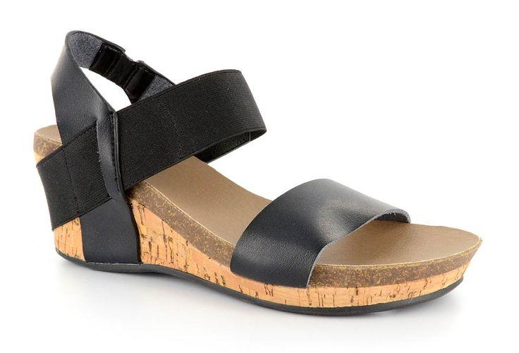 """Corky's+Footwear+""""Brandy""""+Ladies+Wedge+Sandals+-+Black+&+Cork"""
