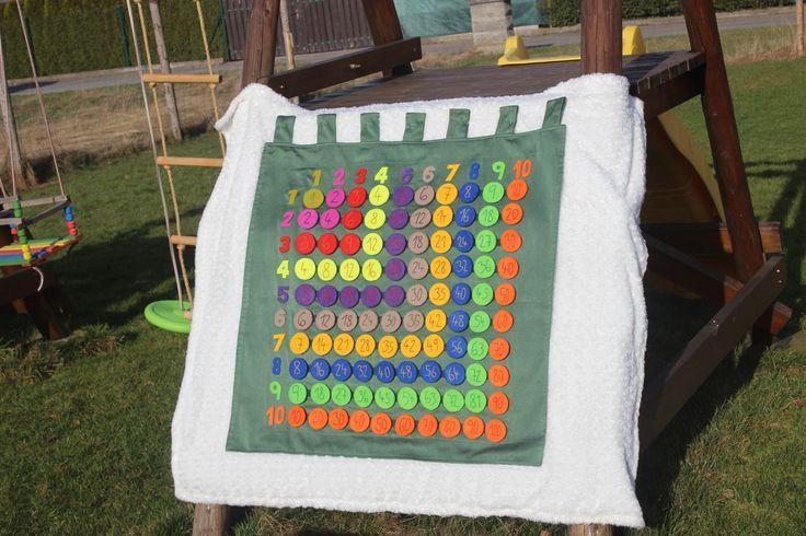 Tabule+násobků+Tabule+násobků+na+procvičování+malé+násobilky.+S+touto+tabulí+si+mohou+děti+hrát+a+zároveň+se+učit.+Pomocí+oddělávacích+koleček+s+čísly,+mohou+děti+dokola+procvičovat+malou+násobilku.+Tabuli+je+možno+pověsit+na+zeď+nebopoložit+na+zem.+Kolečka+jsou+z+dvojitého+silného+filcu+opatřena+suchým+zipem.+Čísla+jsou+ručně+vyšitá.+Rozměry:+Tabule:...