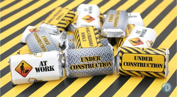 Under Construction Party Favor Decoration Stickers for Hershey's Miniature Bars (Set of 54)