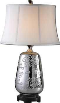 Silver Contemporary Lamp With Etched Base. Pin It Here