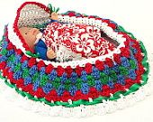 cradle purse crochet little girl baby doll purse Scandinavian colors itty bitty bassinet drawstring purse BG21