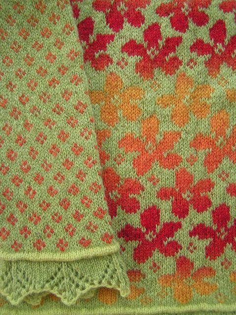 """Spring is he second of the series of """"Season patterns"""". For Autumn, which was the first I designed, you had to steek. That prevented many from knitting the cardigan and for Spring, I have designed a pattern where you knit all of it on circular needles."""