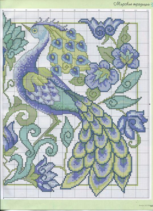 PEACOCK cross stitch pattern. Gallery.ru / Фото #23 - ФР_01(46)_2013 г. - f-morgan