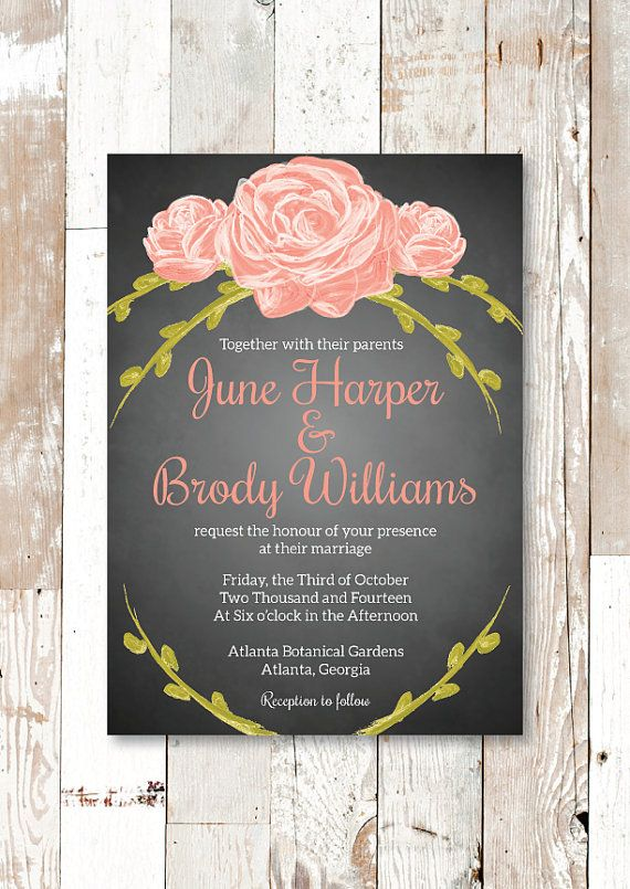 Shabby Chic Coral Chalkboard Hand-Painted Rose Vintage Wedding Invitation and RSVP | Laura Madison Designs
