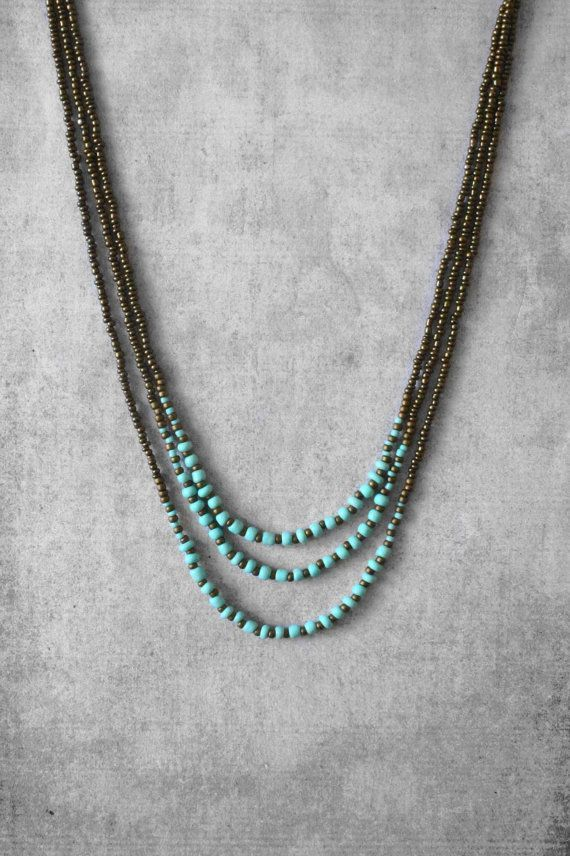 Beaded necklace, layered necklace, turquoise necklace, bead necklace, unique jewerly, summer trends, handmade jewelry, woman gift ideas, art