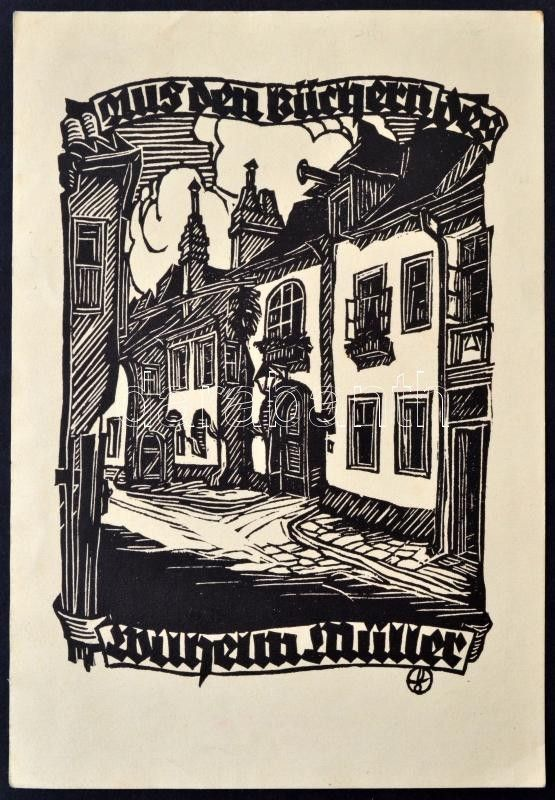 Otto Feil (1894-1985): Ex libris Wilhelm Müller. Linómetszet, papír, jelzett a linón, 13×9 cm | Darabanth Kft.