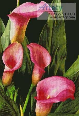 Pink Calla Lilies cross stitch pattern.