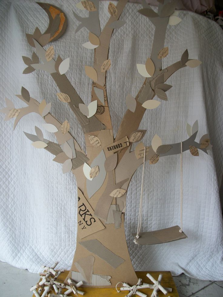 Cardboard tree for closet play space