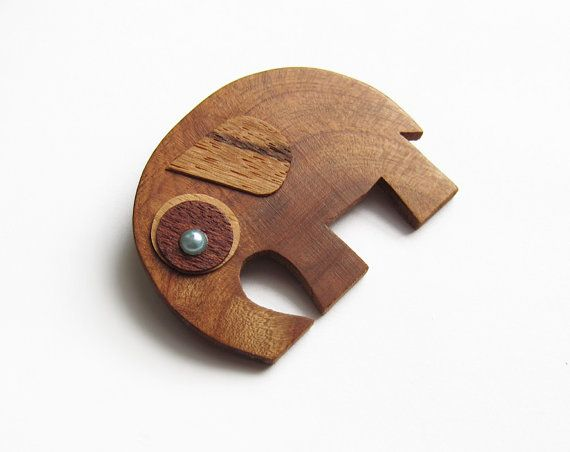 Wooden brooch elephant brooch brooch cherry by forEVAhairforks  #woodenbrooch #brooch #elephantwood
