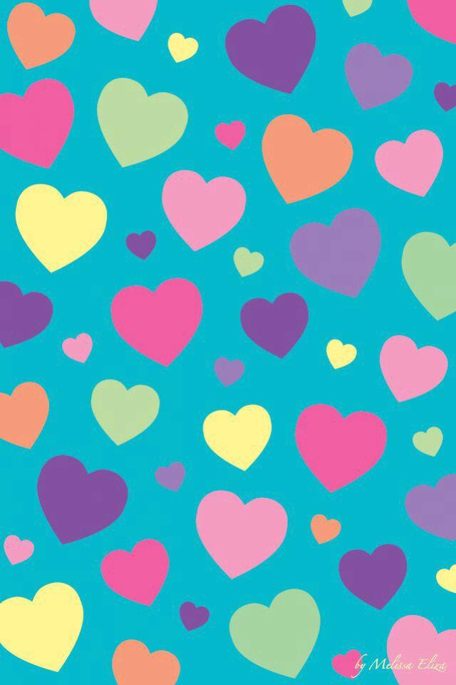 Rainbow Hearts Blue Background.