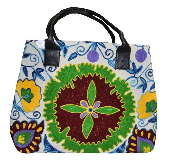 "Indian Embroidery Leather Bags Women Cotton Fashion Shoulder Fashion Bag 14x18"" #LalHaveli #HandBag"