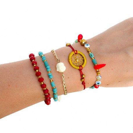Pulsera Roja y Azul con Cazador de Sueños -TIENDA ONLINE www.dulceencanto.com #pulseras #accesorios #colombia
