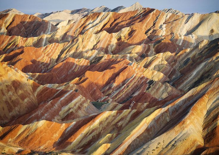 Brightly coloured rock formations at the Zhangye Danxia Landform Geological Park, Gansu Province, China