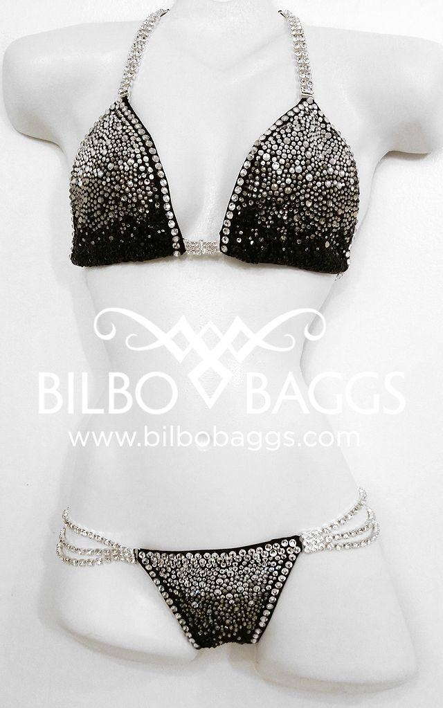CRYSTAL COUNT: 2293+ Custom suits made to fit! Bilbo suits are made to your specifications in any color and coordinating stone colors. Already have an idea? Great! Let us know and we will work together to create your dream suit. #bikini #black #bodybuilding #npc #ipl #wbo #competition