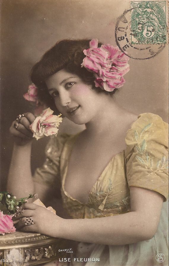 1900s Belle Epoque French Tinted Oricelly Postcard Artist Lise Fleuron Romantic Mood