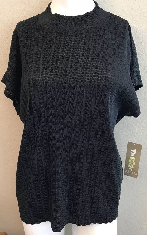 e475278526b TanJay Ladies Size 1X Top Black Crimped Short Sleeve Lightweight New NWT   Tanjay  Blouse  Casual