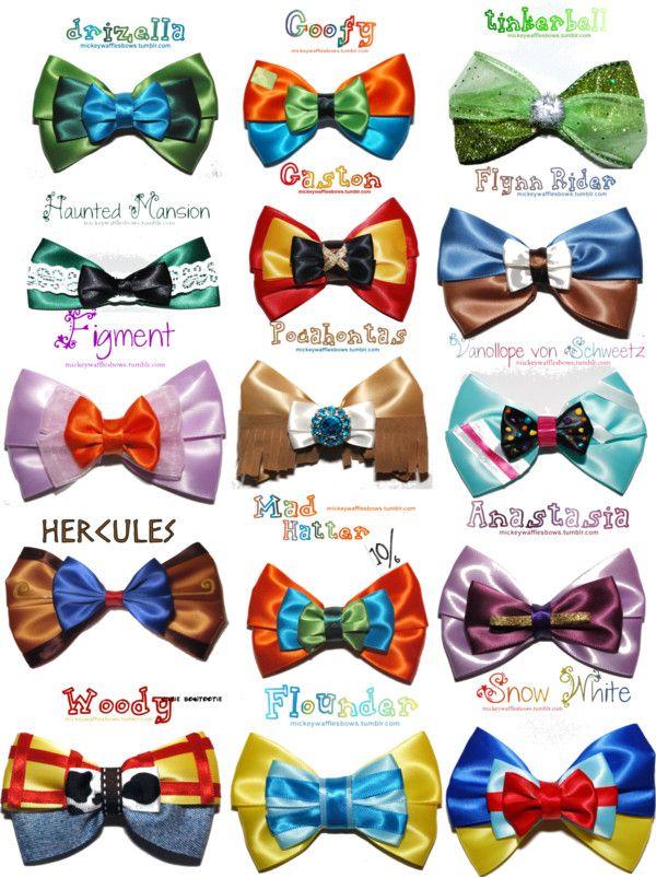 Hair bows inspirados en personajes de Disney by Mickey Waffles , super hermosos los quiero todos